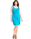 Plus Size Dress, Sleevless Faux-Wrap Sheath