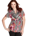 Plus Size Top, Short-Sleeve Striped Floral-Print