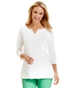 Top, Three-Quarter-Sleeve Embroidered Tunic