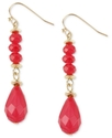 Haskell Earrings, Gold-Tone Fuchsia Faceted Bead D