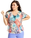 Plus Size Top, Short-Sleeve Floral-Print