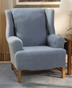 Slipcovers, Stretch Pinstripe Wing Chair Cover Bed