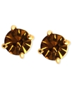 Earrings, Gold-Tone Topaz Cubic Zirconia Stud Earr