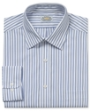 Dress Shirt, No Iron Blue and Green Stripe Long Sl
