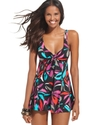 Swimsuit, Printed Bow-Front Babydoll Swimdress Wom