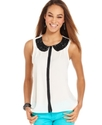 Juniors Top, Sleeveless Rhinestone Button-Down