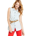 Juniors Top, Sleeveless Belted Chambray Button-Dow