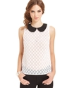 Top, Sleeveless High-Neck Lace Tank