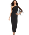 Dress, One-Shoulder Ruched Gown