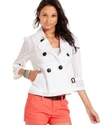 Juniors Jacket, Three-Quarter Sleeve Empire Waist