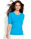 Sweater, Short-Sleeve Ruched Scoop-Neck