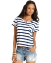 Juniors Top, Short Sleeve Striped Tee
