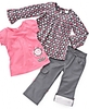 Nannette Little Girl Roll-up Pants, Long-sleeved Top and Te