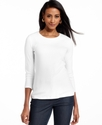 Petite Top, Three-Quarter-Sleeve Crew-Neck