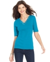 Signature Top, Elbow-Length V-Neck