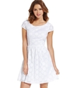 Juniors Dress, Cap Sleeve Polka-Dot A-Line