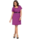 Plus Size Dress, Short-Sleeve Belted Sheath