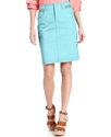 Skirt, Curvy-Fit Denim Pencil, Aqua Mint Wash