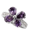 Ring, Silver-Tone Purple Cubic Zirconia Flower Rin