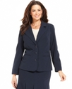 Plus Size Jacket, Navy Stretch Suiting Three Butto