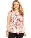 by ASL Plus Size Top, Sleeveless Floral-Print Tie-