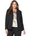 Plus Size Jacket, Notched Collar Button Front
