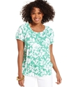 Petite Top, Short-Sleeve Printed Peasant