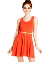 Juniors Dress, Sleeveless Belted A-Line
