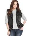 Plus Size Vest, Sleeveless Faux Leather