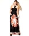 Juniors Dress, Halter Floral-Print Gown