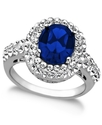 Sterling Silver Ring, Blue Crystal Ring with Swaro