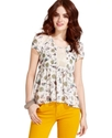 Juniors Top, Short Sleeve Printed High-Low