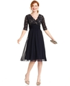 Dress, Elbow-Sleeve Lace Empire-Waist