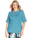 Plus Size Top, Short-Sleeve Pima Cotton Striped Bo