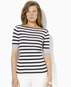 Petite Top, Three-Quarter-Sleeve Striped Tee