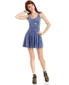 Juniors Dress, Sleeveless Acid-Wash-Print Mini