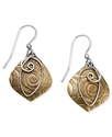 Bronze Earrings, Textured Drop Earrings