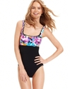 Swimsuit, Printed Ruffle-Trim Maillot One-Piece Wo