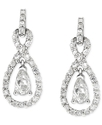 Sterling Silver Earrings, Cubic Zirconia Double Te