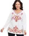 Plus Size Top, Long-Sleeve Embroidered V-Neck