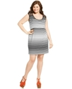 Plus Size Dress, Cap-Sleeve Striped Lace