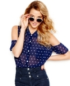 Juniors Top, Short Sleeve Polka-Dot-Print Button-D