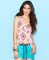 Juniors Top, Sleeveless Printed Button-Down