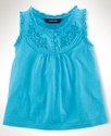 Kids Shirt, Little Girls Embroidered Bib Tank