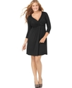 Plus Size Dress, Three Quarter Sleeve Crisscross F