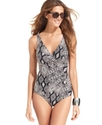 Swimsuit, Surplice-Neck Geometric-Print One-Piece