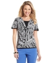 Petite Top, Short-Sleeve Printed Layered
