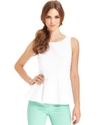 Top, Sleeveless High-Neck Eyelet Peplum Tank