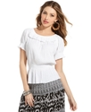 Top, Short-Sleeve Cotton Peasant