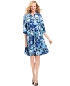 Dress, Three-Quarter-Sleeve Belted Floral-Print Sh